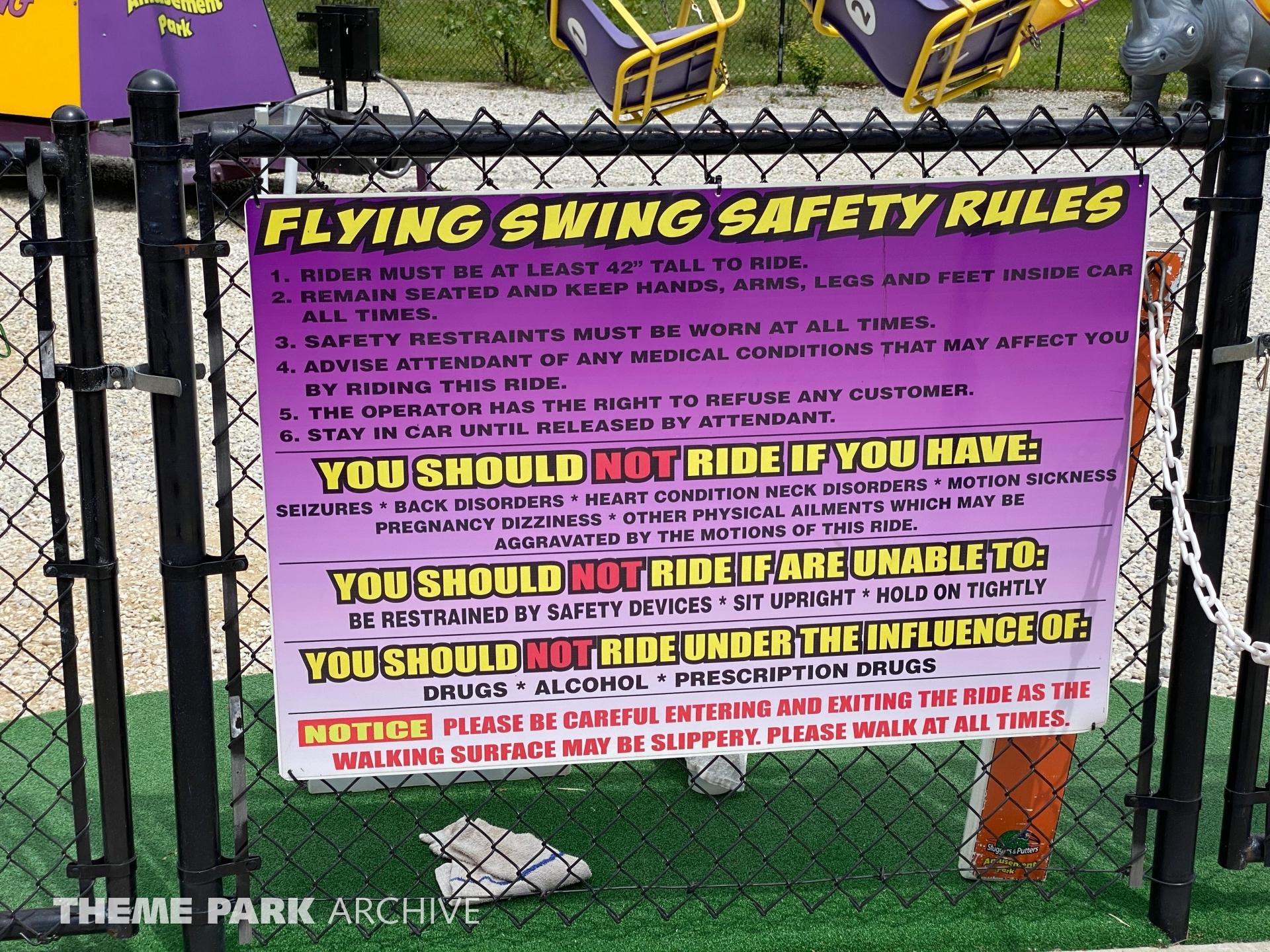 The Flying Chair Swings at Sluggers & Putters Amusement Park